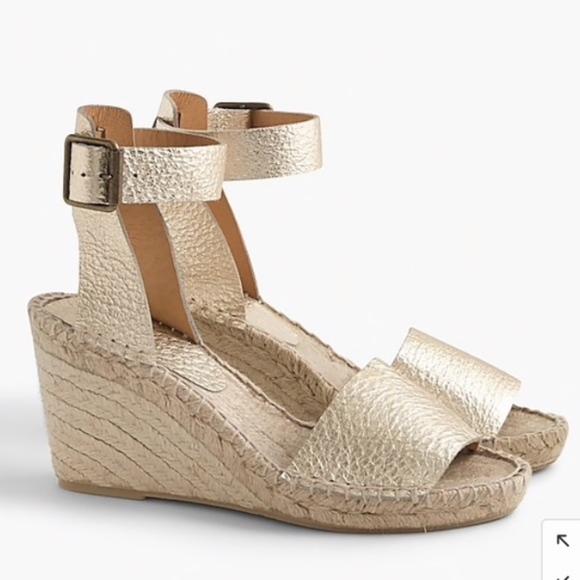 d4ff5542216 J. CREW Gold Metallic Leather Espadrille Sandals